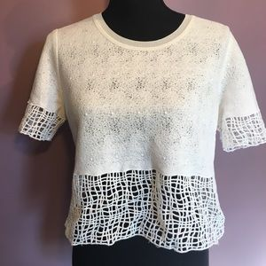 Elie Tahari White Crop Top with Cut Outs